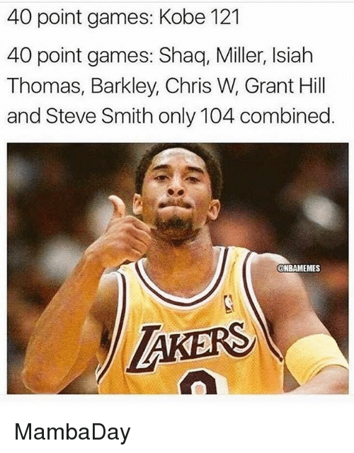 Nba, Shaq, and Steve Smith: 40 point games: Kobe 121  40 point games: Shaq, Miller, Isiah  Thomas, Barkley, Chris W, Grant Hill  and Steve Smith only 104 combined  ONBAMEMES  TAKERS MambaDay
