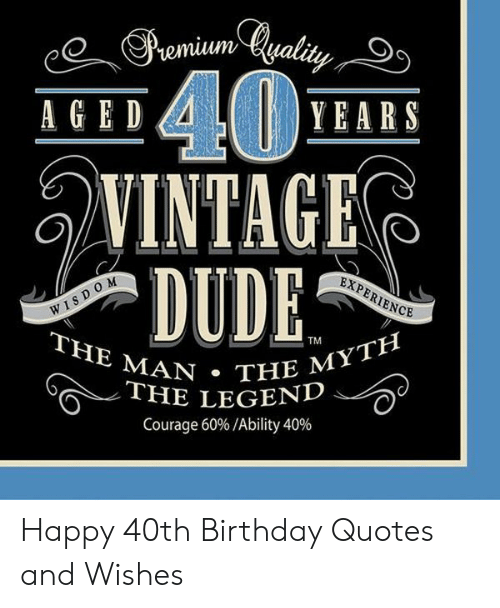 Amazing 40 Vintage Dude Years Aged Experience Wisdom The Man The Myth Personalised Birthday Cards Bromeletsinfo