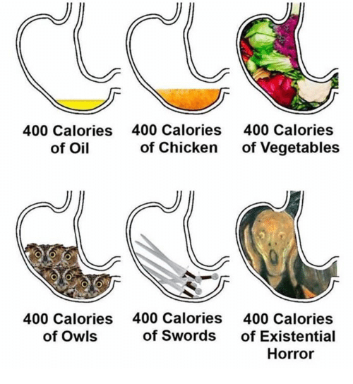Chicken, Classical Art, and Horror: 400 Calories  of Oil  400 Calories  of Chicken  400 Calories  of Vegetables  400 Calories  of Owls  400 Calories  of Swords  400 Calories  of Existential  Horror