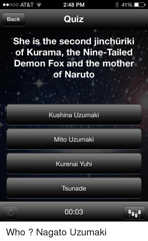 41% 248 PM Ooooo AT&T Quiz Back She Is the Second Jinchuriki of