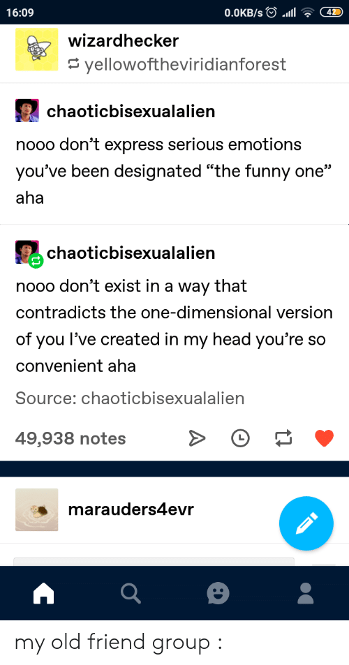 """Funny, Head, and Tumblr: 42  16:09  0.0KB/s  wizardhecker  yellowoftheviridianforest  chaoticbisexualalien  nooo don't express serious emotions  you've been designated """"the funny one""""  aha  chaoticbisexualalien  nooo don't exist in a way that  contradicts the one-dimensional version  of you l've created in my head you're so  convenient aha  Source: chaoticbisexualalien  49,938 notes  marauders4evr my old friend group :"""
