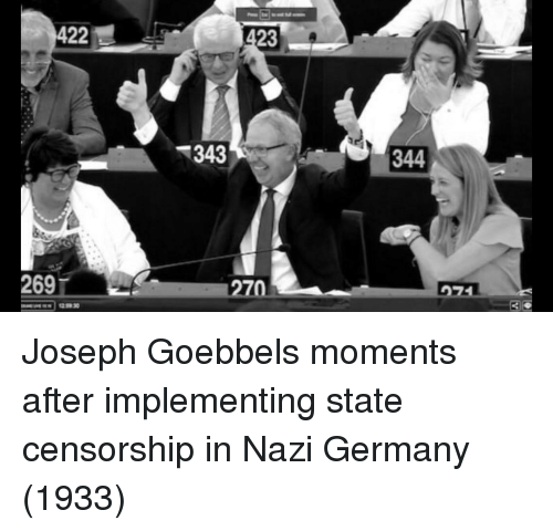 Germany, Censorship, and Joseph Goebbels: 422  23  343  344  269  70 Joseph Goebbels moments after implementing state censorship in Nazi Germany (1933)