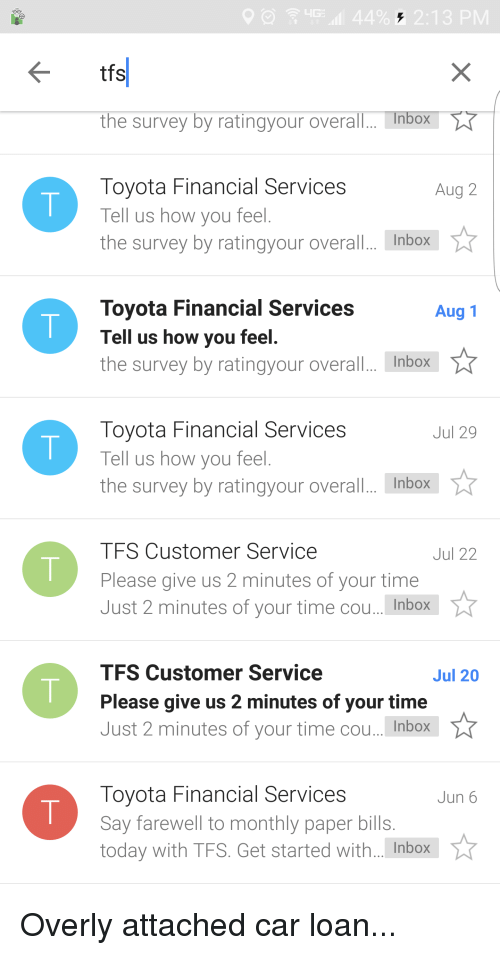 Toyota Financial Services · Overall · Cars, Funny, And Toyota: 44% 2:13 PM  Tfs The Survey