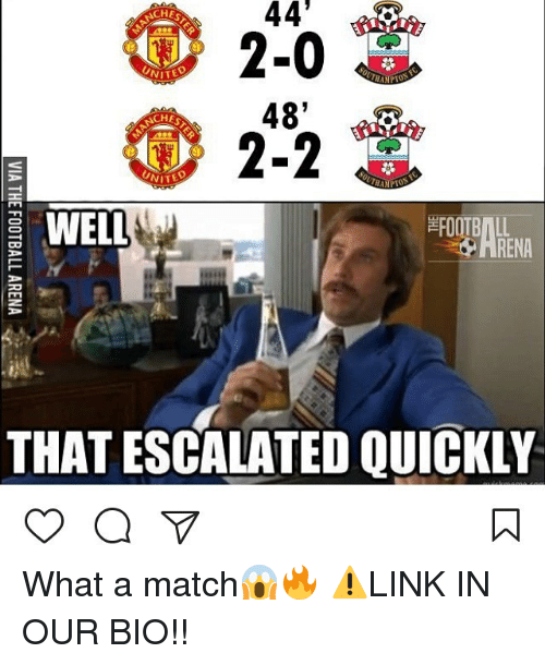 Memes, 🤖, and Links: 44'  CHE  2-0  NITED  48  CHE  2-2  WELL  THAT ESCALATED QUICKLY What a match😱🔥 ⚠️LINK IN OUR BIO!!