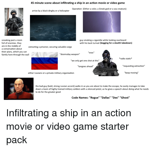"Bad, God, and Radio: 45 minute scene about infiltrating a ship in an action movie or video game  Operation (Either a color, a Greek god or a sea creature)  arrive by a black dinghy or a helicopter  ONSTANTIN LAARE  ROXSTOHALR  sneaking past a room  full of enemies. they  are in the middle of  a conversation about  their plans, which you can  faintly here through the wall  guy smoking a cigarette while looking overboard  with his back turned (begging for a stealth takedown)  extracting a prisoner, securing valuable cargo  ""evac  ""doomsday weapon""  *radio static*  ""we only get one shot at this""  ""tangoes ahead""  ""requesting extraction""  either russians or a private military organization  ""keep moving""  the bad guy (bald, strong russian accent) walks in as you are about to make the escape, he easily manages to take  down a team of highly trained military soldiers with a silenced pistol, as he gives a speech about doing what he needs  to do for the greater good  Code Names: ""Rogue"" ""Dallas"" ""Dex"" ""Ghost"""