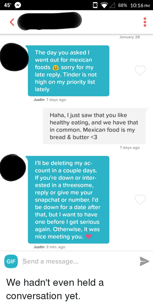 Tinder, Mexican Food, and Threesome: 450 88% 10:16 PM January