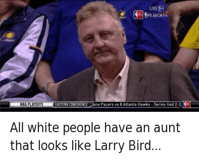 All white people have an aunt that looks like Larry Bird... : All white people have an aunt that looks like Larry Bird All white people have an aunt that looks like Larry Bird...