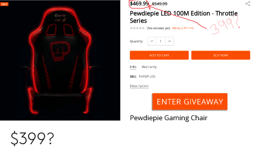 Enjoyable 4699954999 Sale Pewdiepie Led 100M Edition Throttle Pdpeps Interior Chair Design Pdpepsorg