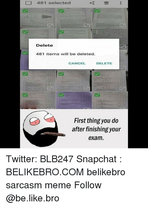 Be Like, Meme, and Memes: 481 selected  Delete  481 items will be deleted  CANCEL  DELETE  First thing you do  after finishing your  exam Twitter: BLB247 Snapchat : BELIKEBRO.COM belikebro sarcasm meme Follow @be.like.bro