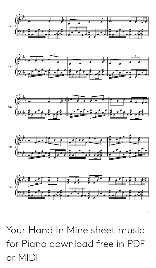 49 58 61 Your Hand in Mine Sheet Music for Piano Download