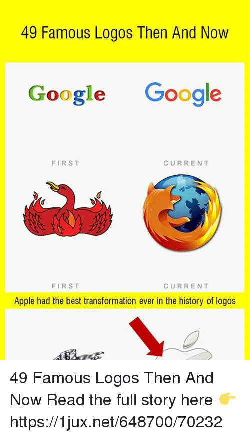 Apple, Google, and Best: 49 Famous Logos Then And Now  Google Google  FIRST  CURRENT  FIRST  CURRENT  Apple had the best transformation ever in the history of logos 49 Famous Logos Then And Now Read the full story here 👉 https://1jux.net/648700/70232