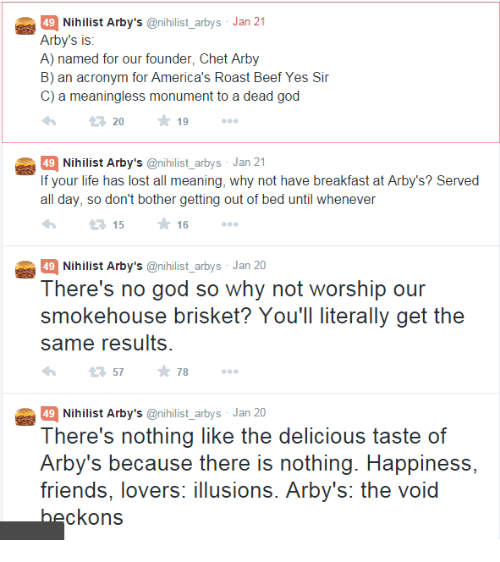 49 nihilist arby s arbys jan 21 arby s is a named for our founder