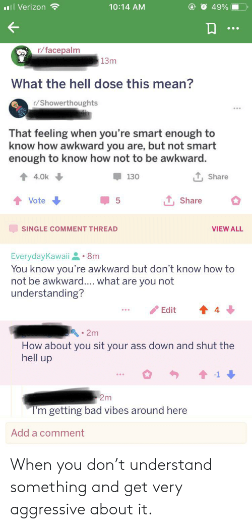Ass, Bad, and Facepalm: 49%  Verizon  10:14 AM  r/facepalm  13m  What the hell dose this mean?  r/Showerthoughts  That feeling when you're smart enough to  know how awkward you are, but not smart  enough to know how not to be awkward.  4.0k  130  Share  Share  Vote  5  SINGLE COMMENT THREAD  VIEW ALL  EverydayKawaii 8m  You know you're awkward but don't know how to  not be awkward.... what are you not  understanding?  Edit  2m  How about you sit your ass down and shut the  hell up  2m  T'm getting bad vibes around here  Add a comment When you don't understand something and get very aggressive about it.