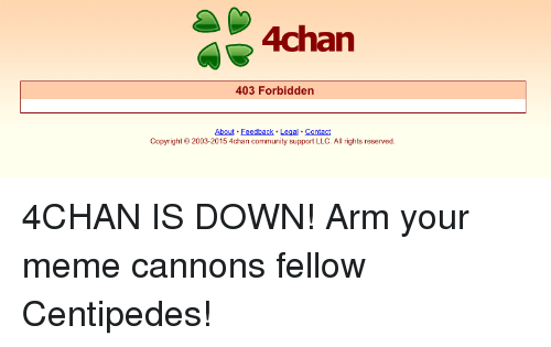 4chan 403 Forbiddern About Feedback Legal Contact Copyright 2003