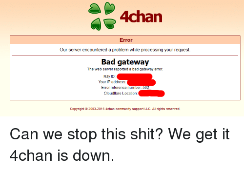 4chan Error Our Server Encountered a Problem While Processing Your