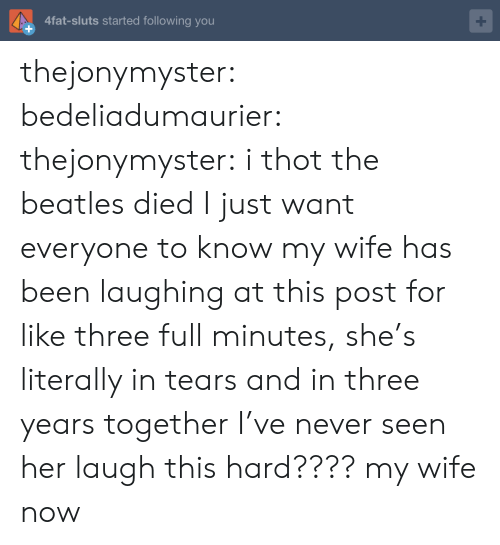 The Beatles, Thot, and Tumblr: 4fat-sluts started following you thejonymyster: bedeliadumaurier:  thejonymyster: i thot the beatles died  I just want everyone to know my wife has been laughing at this post for like three full minutes, she's literally in tears and in three years together I've never seen her laugh this hard????   my wife now