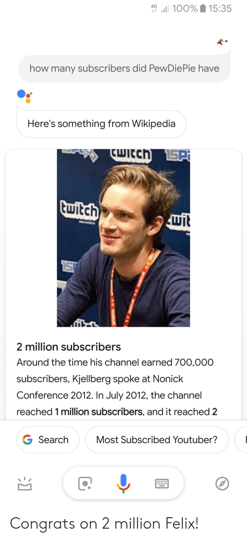 4G 11 100%1 1535 How Many Subscribers Did PewDiePie Have
