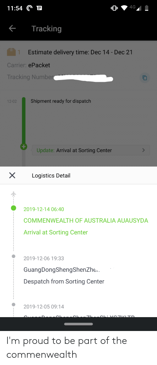 4g 1154 Tracking Estimate Delivery Time Dec 14 Dec 21 Carrier Epacket Tracking Number Shipment Ready For Dispatch 12 02 Update Arrival At Sorting Center Logistics Detail 2019 12 14 0640 Commenwealth Of Australia