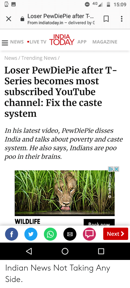 4G 1509 Loser PewDiePie After T- From Indiatodayin
