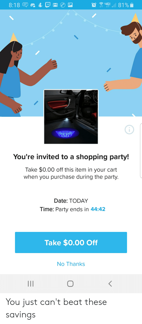 4G 818 E You're Invited to a Shopping Party! Take $000 Off