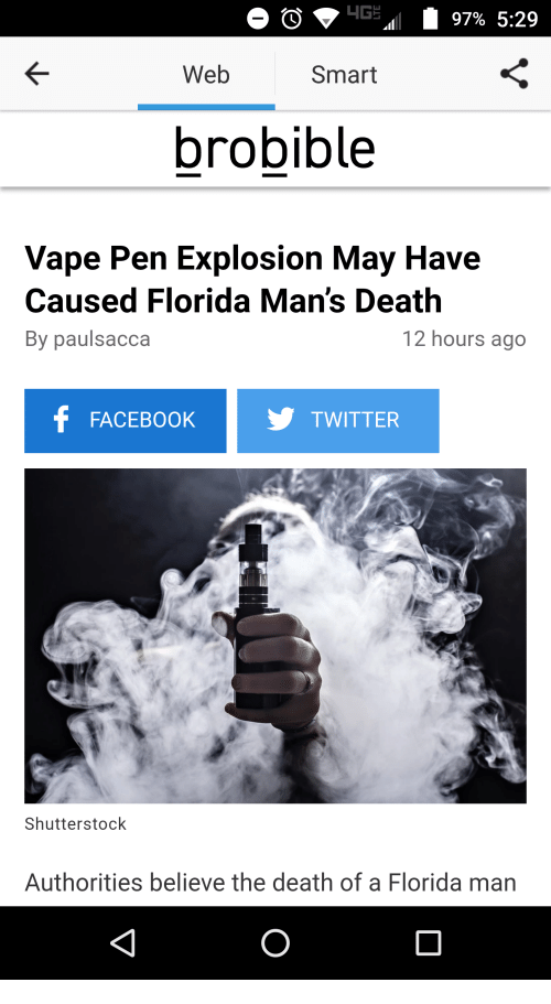 4G 97% 529 Web Smart Brobible Vape Pen Explosion May Have