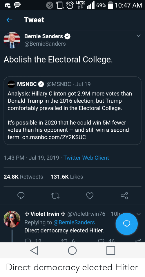 Bernie Sanders, College, and Donald Trump: 4GE  10:47 AM  69%  Tweet  Bernie Sanders  @BernieSanders  Abolish the Electoral College.  MSNBC  @MSNBC Jul 19  Analysis: Hillary Clinton got 2.9M more votes th  Donald Trump in the 2016 election, but Trump  comfortably prevailed in the Electoral College.  It's possible in 2020 that he could win 5M fewer  votes than his opponent  and still win a second  term. on.msnbc.com/2Y2KSUC  1:43 PM Jul 19, 2019 Twitter Web Client  6K Likes  K Re  2  eets  Violet Irwin @Violetlrwin76 10h  Replying to @BernieSanders  Direct democracy elected Hitler.  12.  46 Direct democracy elected Hitler