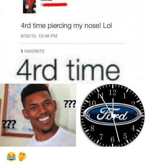 Lol, Memes, and Time: 4rd time piercing my nose! Lol  6/30/15, 12:48 PM  1 FAVORITE  4rd time  12  2  277 😂🤔