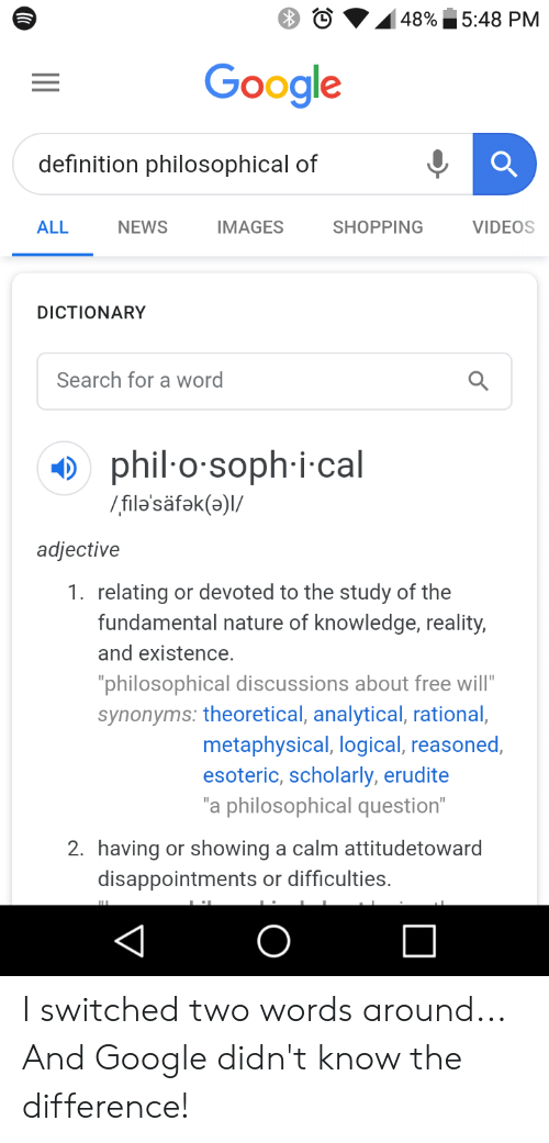 548 PM 48% Google Definition Philosophical of ALL NEWS IMAGES