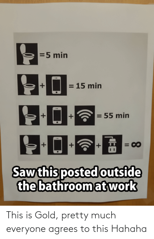 Saw, Work, and Gold: =5 min  = 15 min  = 55 min  = 00  Saw this posted outside  the bathroom at work  8.  II This is Gold, pretty much everyone agrees to this Hahaha