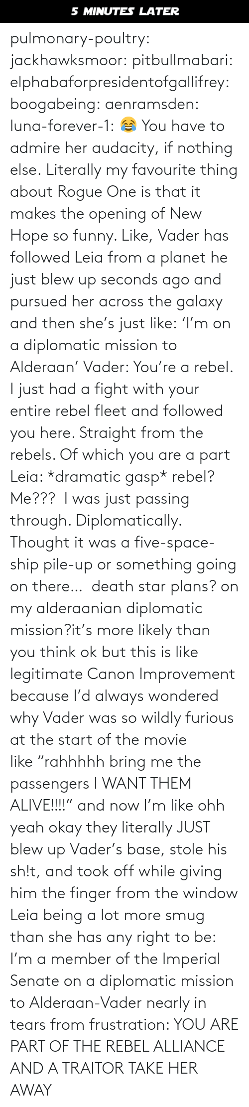 """Alive, Death Star, and Funny: 5 MINUTES LATER pulmonary-poultry:  jackhawksmoor:  pitbullmabari:  elphabaforpresidentofgallifrey:  boogabeing:  aenramsden:  luna-forever-1: 😂 You have to admire her audacity, if nothing else.  Literally my favourite thing about Rogue One is that it makes the opening of New Hope so funny. Like, Vader has followed Leia from a planet he just blew up seconds ago and pursued her across the galaxy and then she's just like:'I'm on a diplomatic mission to Alderaan' Vader: You're a rebel. I just had a fight with your entire rebel fleet and followed you here. Straight from the rebels. Of which you are a part Leia: *dramatic gasp* rebel? Me??? I was just passing through. Diplomatically. Thought it was a five-space-ship pile-up or something going on there…  death star plans? on my alderaanian diplomatic mission?it's more likely than you think   ok but this is like legitimate Canon Improvement because I'd always wondered why Vader was so wildly furious at the start of the movie like""""rahhhhh bring me the passengers I WANT THEM ALIVE!!!!"""" and now I'm like ohh yeah okay they literally JUST blew up Vader's base, stole his sh!t, and took off while giving him the finger from the window    Leia being a lot more smug than she has any right to be: I'm a member of the Imperial Senate on a diplomatic mission to Alderaan-Vader nearly in tears from frustration: YOU ARE PART OF THE REBEL ALLIANCE AND A TRAITOR TAKE HER AWAY"""