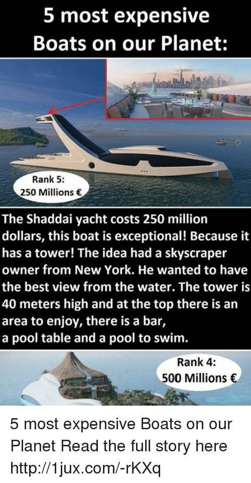 Memes, Pool, And Swimming: 5 Most Expensive Boats On Our Planet: Rank