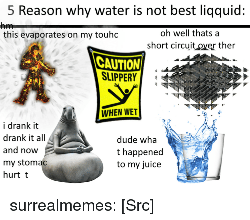 Dude, Juice, and Memes: 5 Reason why water is not best liqquid:  oh well thats a  short circuit over ther  this evaporates on my touhdc  CAUTION  SLIPPER  WHEN WET  i drank it  drank it all  and now  my stomac  hurt t  dude wha  t happened  to my juice surrealmemes:  [Src]