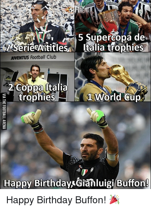 Memes, World Cup, and Juventus: 5 Supercopa de  Italia trophies  T Serie AAStitles  JUVENTUS Football Club  2 Coppa Italia  trophies  1 World Cup  Happy BirthdayAGianluigi Buffon! Happy Birthday Buffon! 🎉