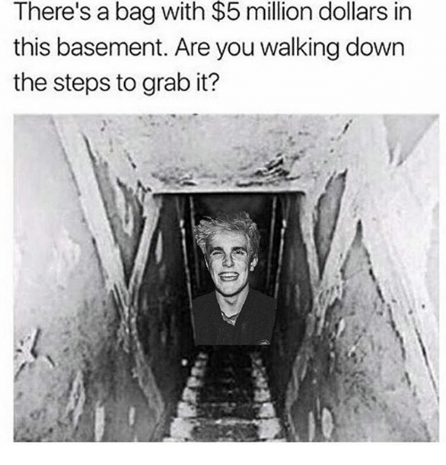 Memes, 🤖, and Down: $5  There's a bag with million dollars in  this basement. Are you walking down  the steps to grab it?