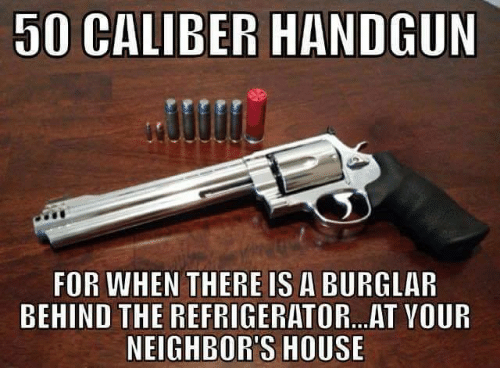 Memes, 🤖, and Handguns: 50 CALIBER HANDGUN  FOR WHEN THERE IS A BURGLAR  BEHIND THE REFRIGERATOR... AT VOUR  NEIGHBORS HOUSE