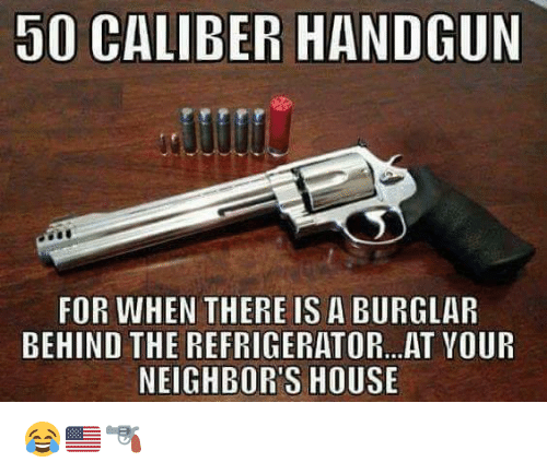 Memes, House, and Neighbors: 50 CALIBER HANDGUN  FOR WHEN THERE IS A BURGLAR  BEHIND THE REFRIGERATOR...AT VOUR  NEIGHBOR'S HOUSE 😂🇺🇸🔫