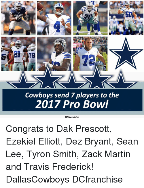 outlet store 2c83f 4d9a3 50 Cowboys Send 7 Players to the 2017 Pro Bowl DCfranchise ...