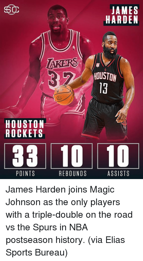 Houston Rockets, James Harden, and Magic Johnson: 50  JAMES  HARDEN  TAKERS  HOUSTON  HOUSTON  ROCKETS  33 10 10  ASSISTS  POINTS  REBOUNDS James Harden joins Magic Johnson as the only players with a triple-double on the road vs the Spurs in NBA postseason history. (via Elias Sports Bureau)