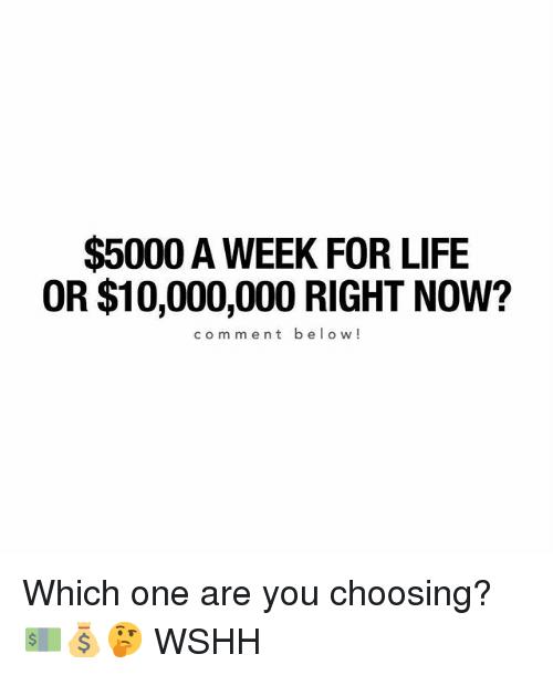 Life, Memes, and Wshh: $5000 A WEEK FOR LIFE  OR $10,000,000 RIGHT NOW?  comment below! Which one are you choosing? 💵💰🤔 WSHH
