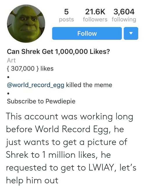 Meme, Shrek, and Help: 521.6K 3,604  posts followers following  Follow  Can Shrek Get 1,000,000 Likes?  Art  307,000 } likes  @world_record_egg killed the meme  Subscribe to Pewdiepie This account was working long before World Record Egg, he just wants to get a picture of Shrek to 1 million likes, he requested to get to LWIAY, let's help him out