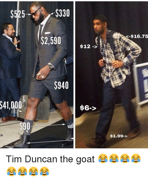 Funny, Tim Duncan, and Goat: $525 $330  -$16.75  $2,590  $12->  $940  $41,000  $6->  90  ON  1.99-> Tim Duncan the goat 😂😂😂😂😂😂😂😂