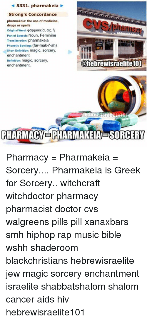 5331 Pharmakeia Strong's Concordance Pharmakeia the Use of Medicine