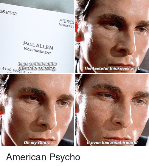 Christian bale american psycho pointing