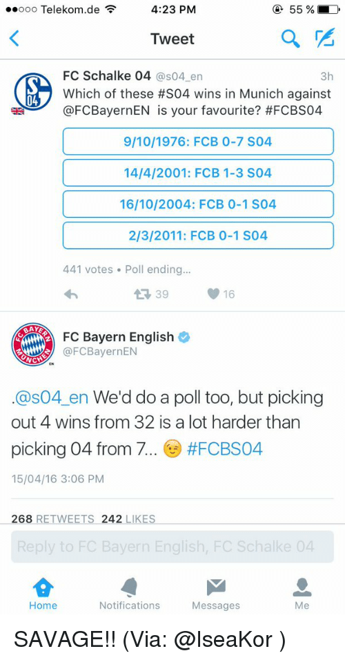 Memes, Bayern, and 🤖: 55 D  4:23 PM  ooo Telekom de  F  Tweet  FC Schalke 04  as04 en  3h  Which of these #S04 wins in Munich against  @FCBayernEN is your favourite? #FCBS04  9/10/1976: FCB 0-7 S04  14/4/2001: FCB 1-3 S04  16/10/2004: FCB 0-1 S04  2/3/2011: FCB 0-1 S04  441 votes Poll ending...  16  BAYE  FC Bayern English  @FCBayernEN  NCH  Cas04 en We'd do a poll too, but picking  out 4 wins from 32 is a lot harder than  picking 04 from 7  #FCBS04  15/04/16 3:06 PM  268  RETWEETS 242  LIKES  Reply to FC Bayern English, FC Schalke 04  Home  Notifications  Messages  Me SAVAGE!! (Via: @IseaKor )