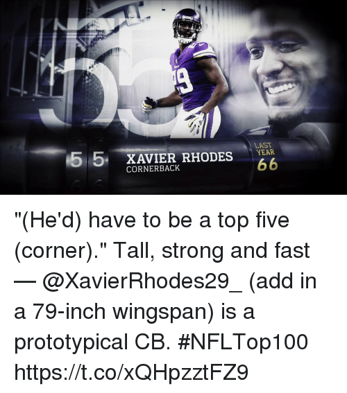 """Memes, Top Five, and Strong: 55 XAVIER RHODES  LAST  CORNERBACK """"(He'd) have to be a top five (corner).""""  Tall, strong and fast — @XavierRhodes29_ (add in a 79-inch wingspan) is a prototypical CB. #NFLTop100 https://t.co/xQHpzztFZ9"""