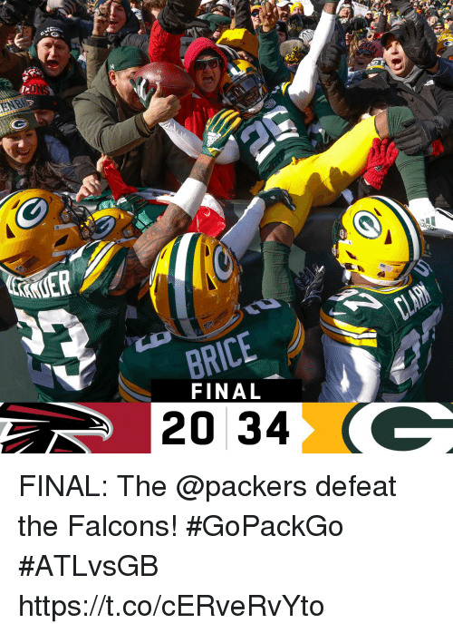 Memes, Falcons, and Packers: 57  KUER  BRICE  20 34  FINAL FINAL: The @packers defeat the Falcons! #GoPackGo  #ATLvsGB https://t.co/cERveRvYto
