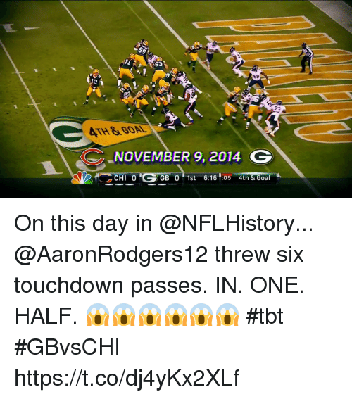 Memes, Tbt, and Goal: 58  2  ATH&GOAL  NOVEMBER 9, 2014 G  CHI 0  GB 0 1st 6:16 :05 4th & Goal On this day in @NFLHistory... @AaronRodgers12 threw six touchdown passes.  IN. ONE. HALF. 😱😱😱😱😱😱 #tbt #GBvsCHI https://t.co/dj4yKx2XLf