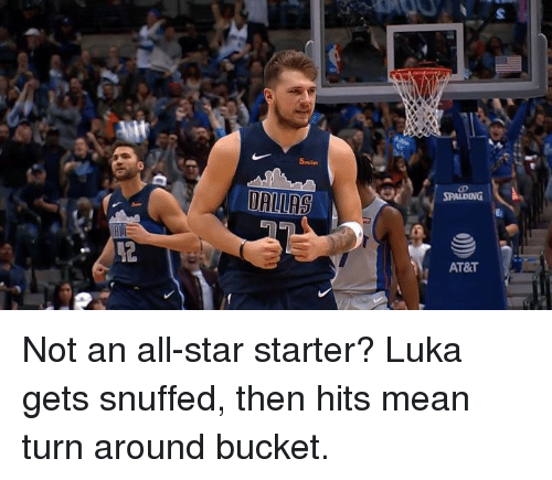 All Star, At&t, and Mean: 5miles  AT&T Not an all-star starter?  Luka gets snuffed, then hits mean turn around bucket.
