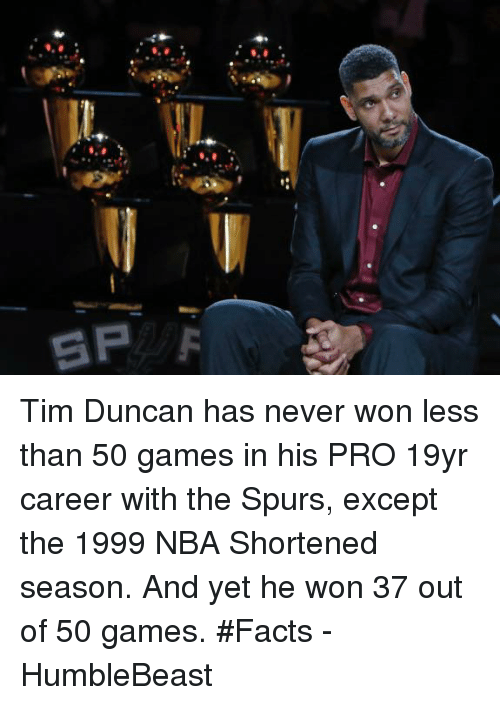 Facts, Memes, and Nba: 5P F Tim Duncan has never won less than 50 games in his PRO 19yr career with the Spurs, except the 1999 NBA Shortened season. And yet he won 37 out of 50 games.   #Facts  - HumbleBeast