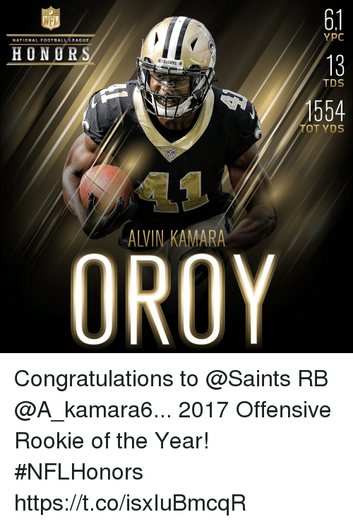 Football, Memes, and Nfl: 6.1  13  554  NFL  YPC  NATIONAL FOOTBALL LEAGUE  HONORS  TDS  TOT YDS  ALVIN KAMARA Congratulations to @Saints RB @A_kamara6... 2017 Offensive Rookie of the Year! #NFLHonors https://t.co/isxIuBmcqR